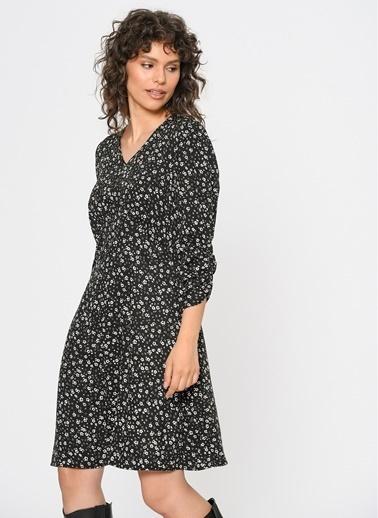 Loves You V Yaka Büzgülü Kol Emprime Elbise Siyah